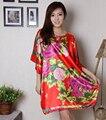 Vermelho Das Senhoras Da Flor Do Vintage Impresso Robe Vestido de Seda Rayon Kimono Bath Vestido Estilo Chinês Verão Solto Camisola Plus Size WR065