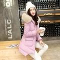 Invierno puede quitar el pelo pesado lideró la ropa cotton padded abajo chaqueta de algodón acolchado abrigo largo