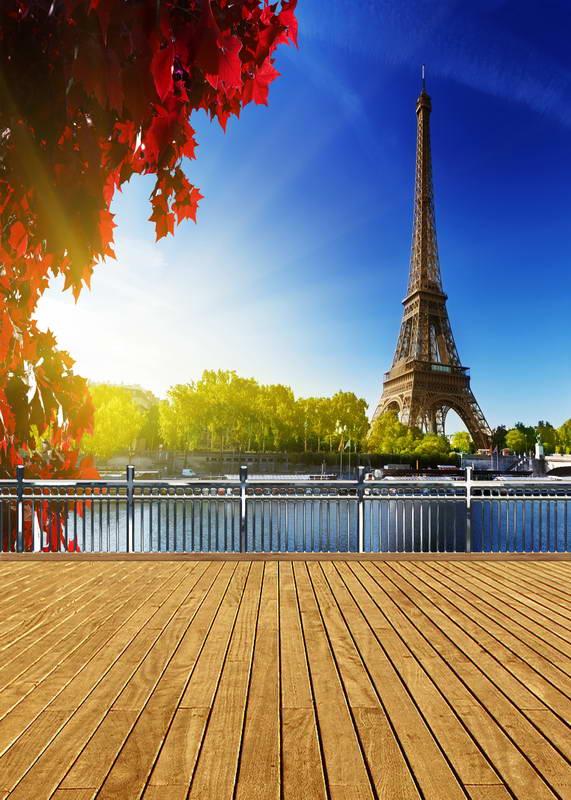 8x12ft Blue Sky Paris Eiffel Tower River Ship View Wooden