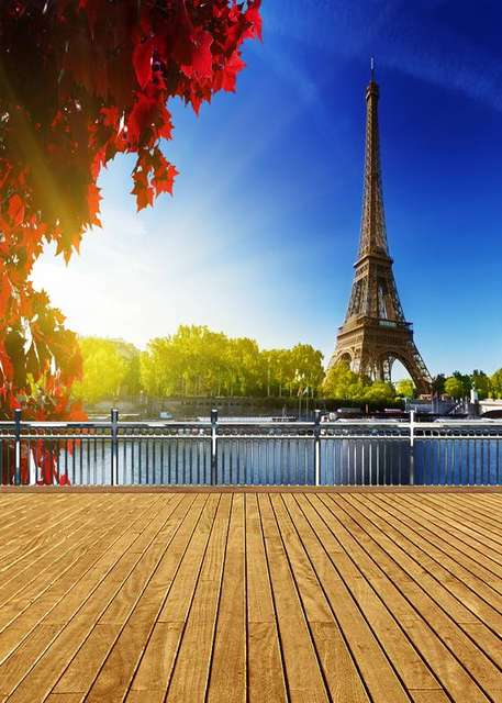 Balcony Bench 8x12ft Blue Sky Paris Eiffel Tower River Ship View Wooden