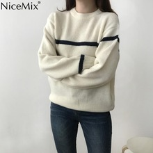 NiceMix 2019 Autumn Casual Stripe Sweater Women Pullovers Striped Loose Knitted O-neck Jumper Sweaters Femme Knitwear