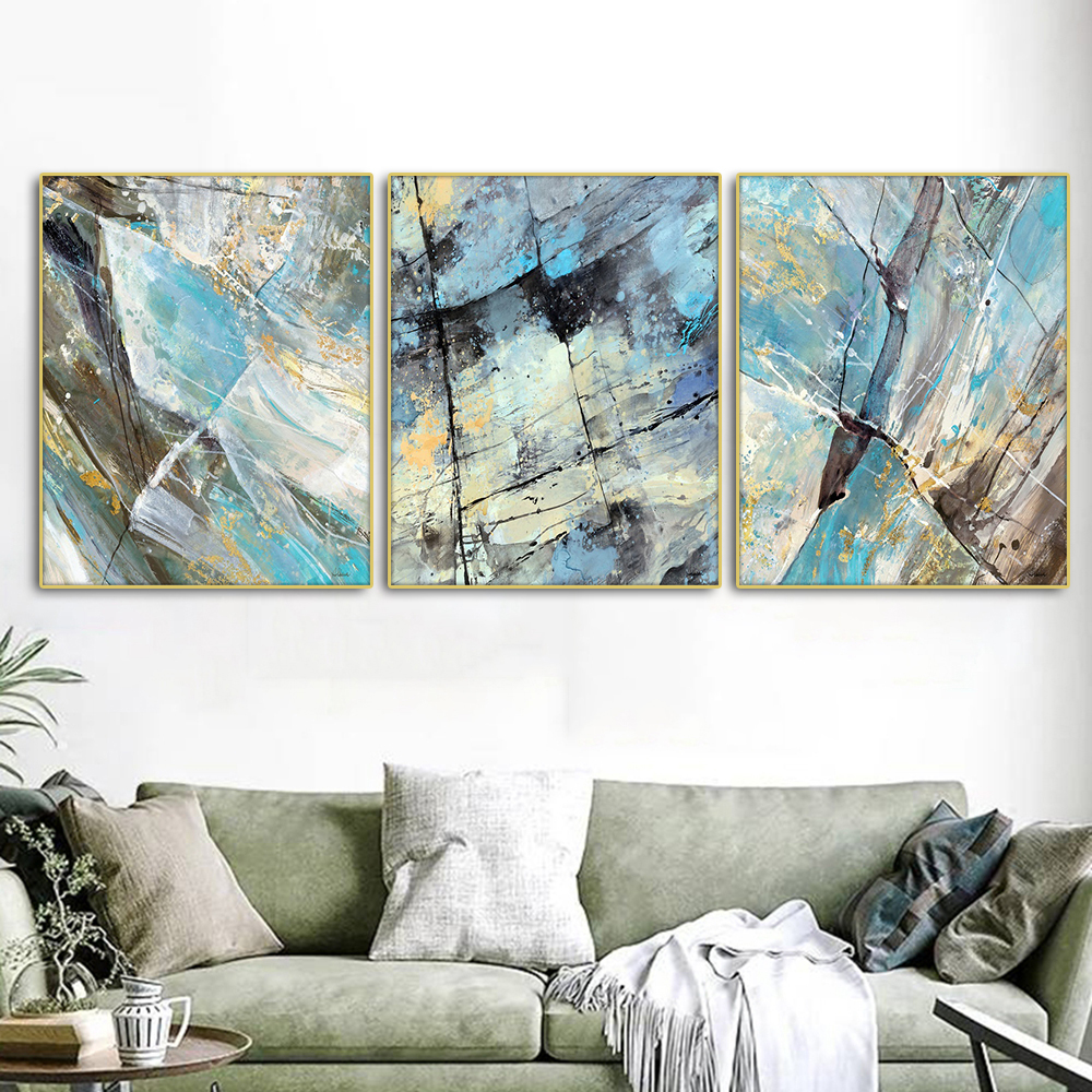 Abstract Blue Nordic Poster Canvas Painting Calligraphy Prints Picture For Living Room House Wall Decor Art Home Decoration in Painting Calligraphy from Home Garden