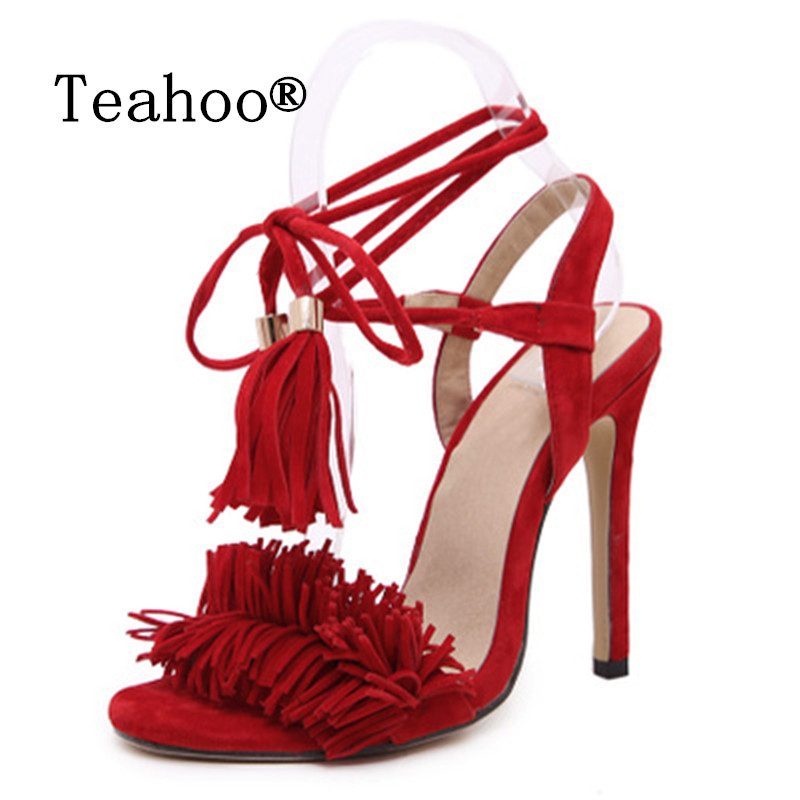 Brand design Gladiator High Heel Sandals 2017 Lady Sexy Tassel Sandals Shoes Woman Strappy Open Toe Summer Dress Party Shoes Red hot selling nude leafs decorations sandals high heel summer sexy open toe cut outs dress shoes woman high heel gladiator sandals
