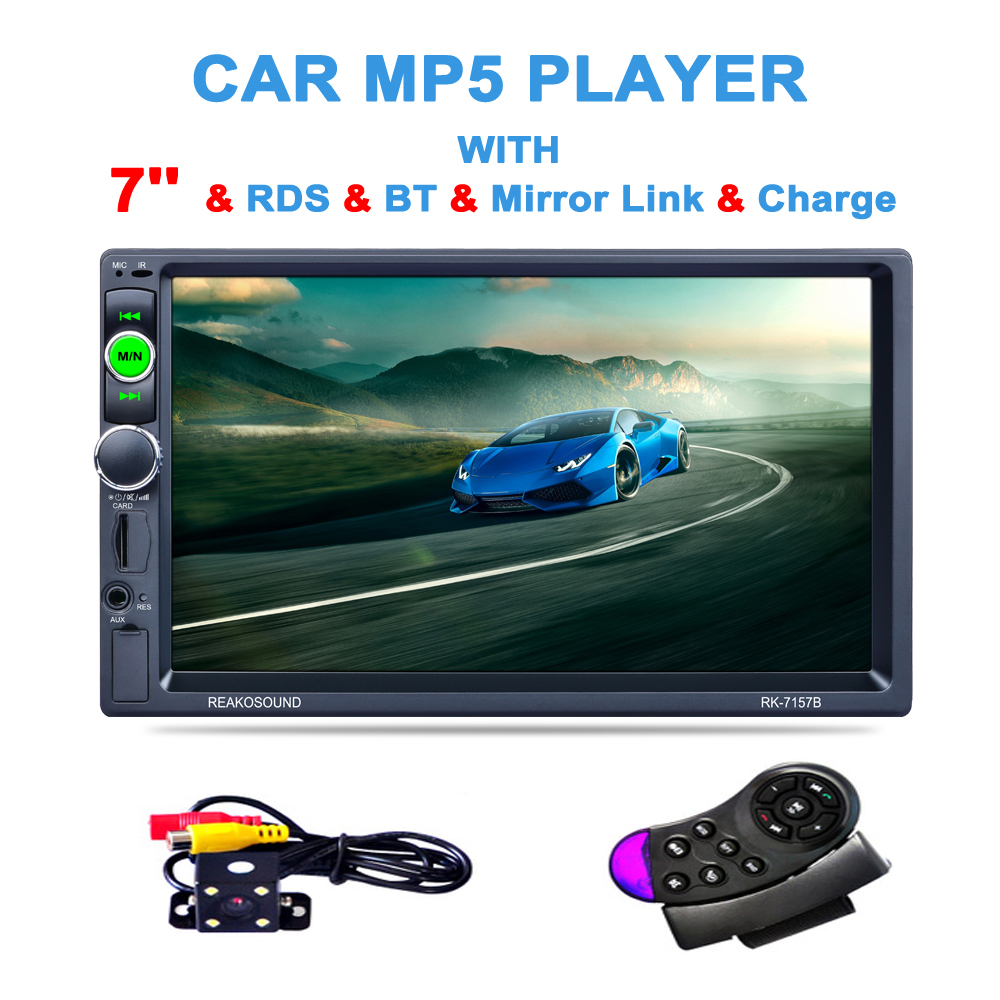 7 1080P HD Touch Car Audio Stereo MP5 Player with Camera Support Bluetooth Handsfree Steering Wheel Remote Control USB TF AUX