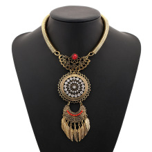 Купить с кэшбэком 2019 Choker Collar Boho Ethnic Power Maxi Statement Necklace Bohemian Crystal Leaf Long Tassel Necklace Vintage Women Collier