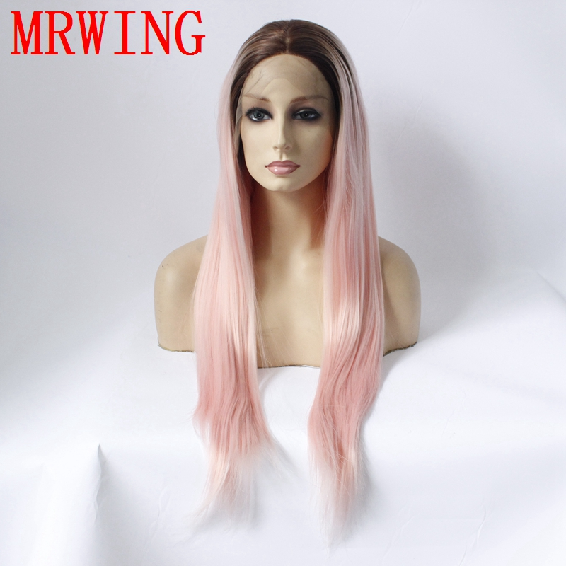 MRWIG real hair 26in middle part brown ombre pink front lace wig short dark roots heat resistant fiber for lady