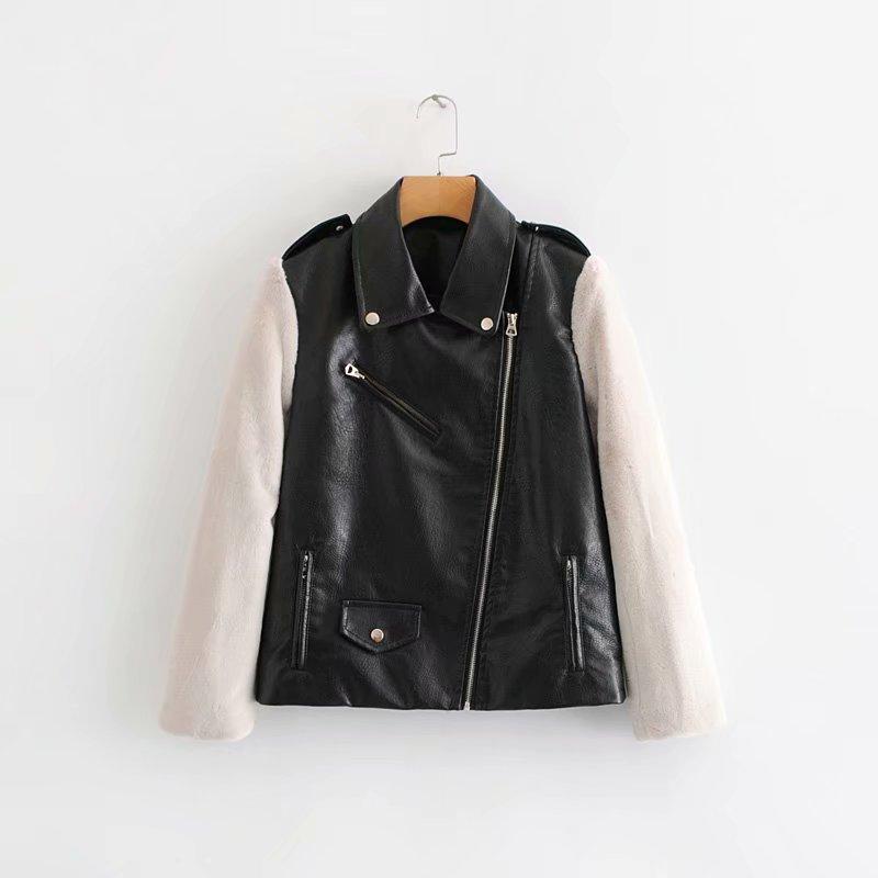 Bracelet Cool Femme Faux Peluche Vestes Cuir Femmes Outwear Slim Zipper Automne Manteau Couture En 2018 Lady Noir reBoCxdW