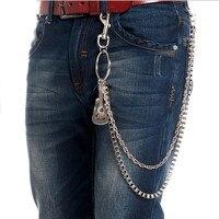 Mężczyźni srebrne Łańcuchy Powiązań Gunmetal Portfel Brelok Jeans Punk Leather Guitar piano Pas Chain Moda 2 Warstwy Spodnie Talia Chai