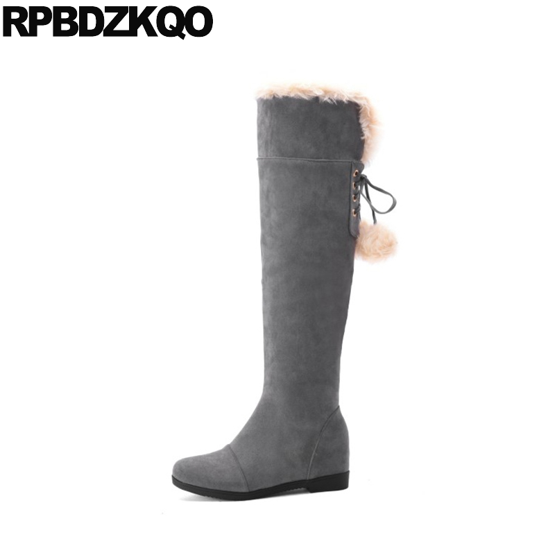 Grey Long 11 Lace Up Over The Knee Flat Fur Cheap High Shoes Kawaii Pom Poms 10 Suede Furry Women Snow Boots Winter Big Size doratasia big size 34 43 women half knee high boots vintage flat heels warm winter fur shoes round toe platform snow boots