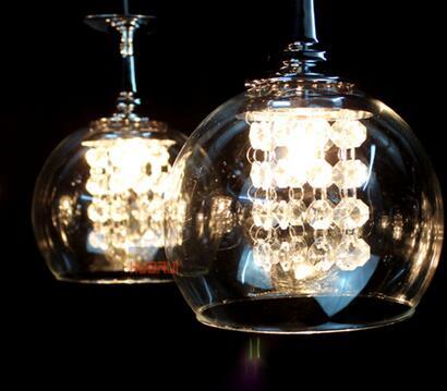 Moderne Kristall Glas Pendelleuchten Klar Weinglas Weinglas