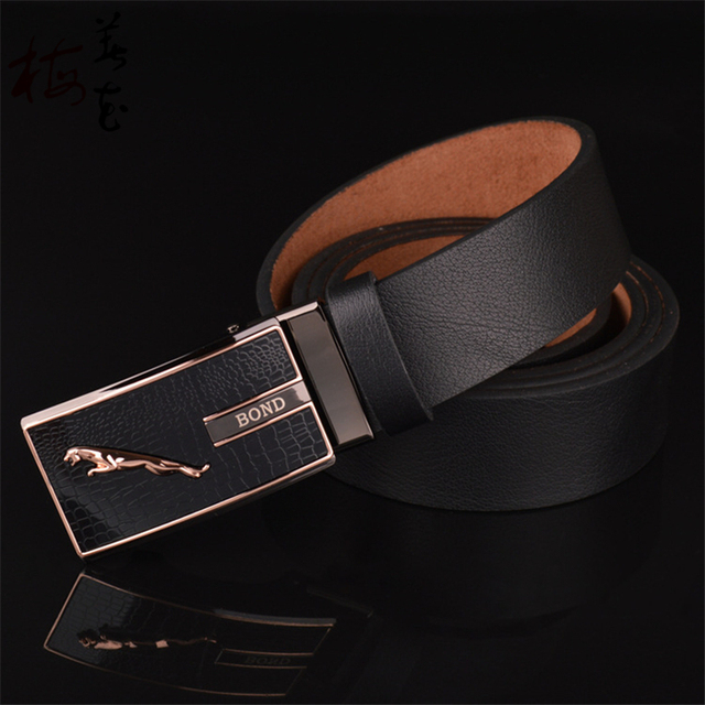 New Designer Fashion Style Belt Mens High Quality Real Leather Belts For Men Automatic Toothless Gold Jaguar Buckle Jeans Strap