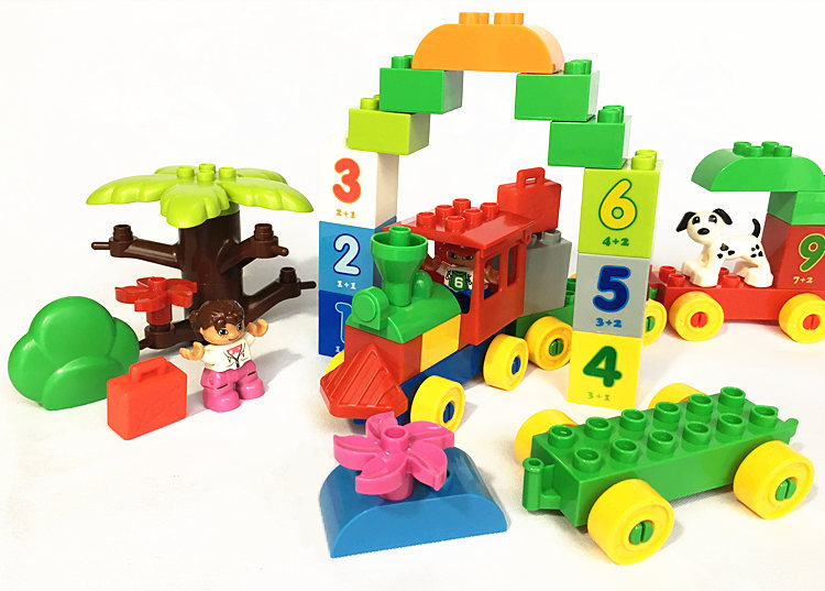 HM136 Big Blocks Number Train Building Set Compatible Duplo Educational Toys DIY Baby Toys