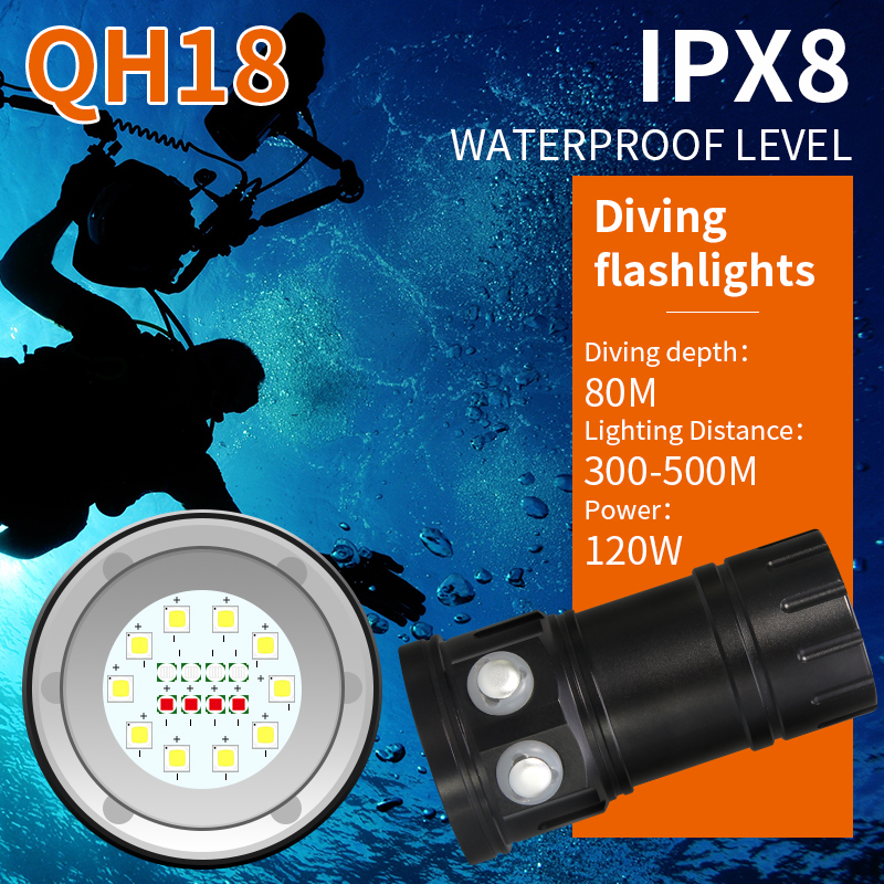 Tinhofire QH18 120W Diving Flashlight Underwater IPX8 80M Photography Video 12000LM White Red Blue LED Scuba Photo Fill light archon d26vr 2000 lumen white and red led scuba diving underwater photography video light