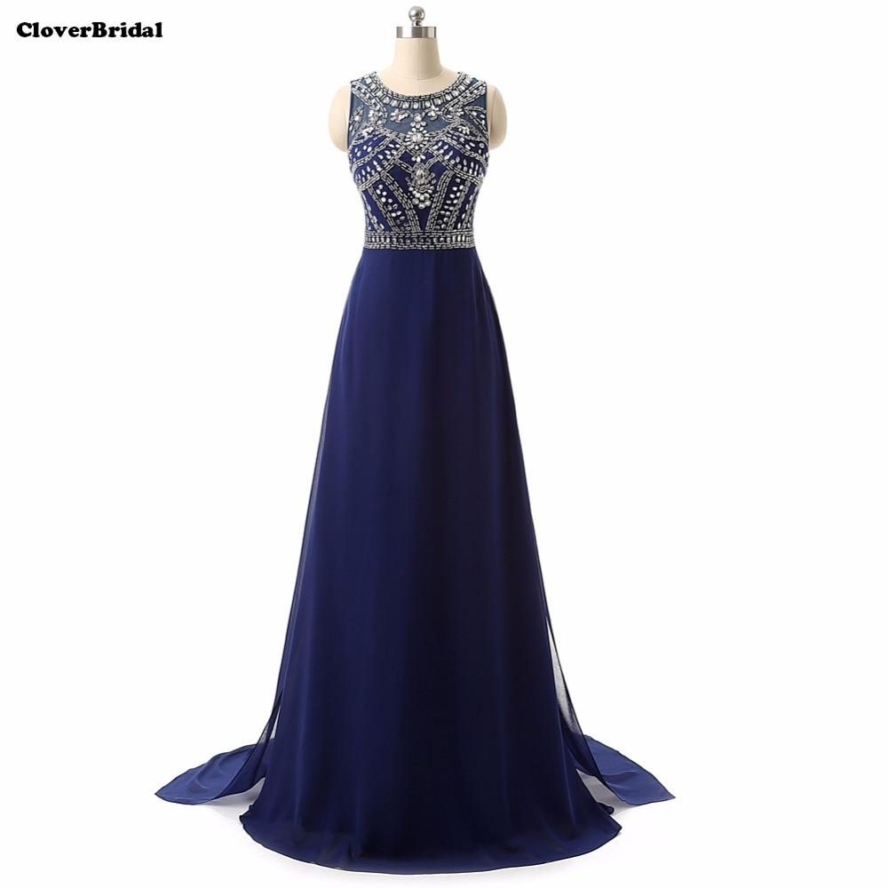 En stock sans manches perlée longue bleu royal robes de soirée robes avec des pierres expédition rapide nouvelle arrivée 2015