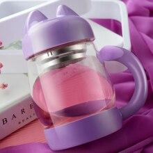 Nette Kreative Katze Glasbecher Tasse Tee Milch Kaffeetasse Borosilikatglas, Doppelschicht Wasser Glastasse mit Tee-ei