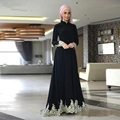 Árabe Muçulmano vestido de Noite Abendkleider Vestido Longo Alta Neck Chiffon Preto Elegante Mangas Compridas Apliques Escova de Trem vestido de festa