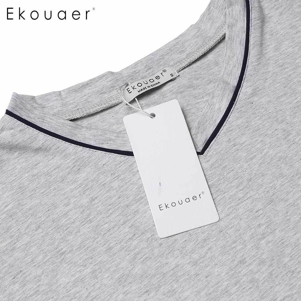 Ekouaer Men ชุดนอนสบายๆผ้าฝ้ายชุดนอนด้านบน V คอยาวแขนยาวหลวม Fit Sleepwear ชุดนอน Homewear