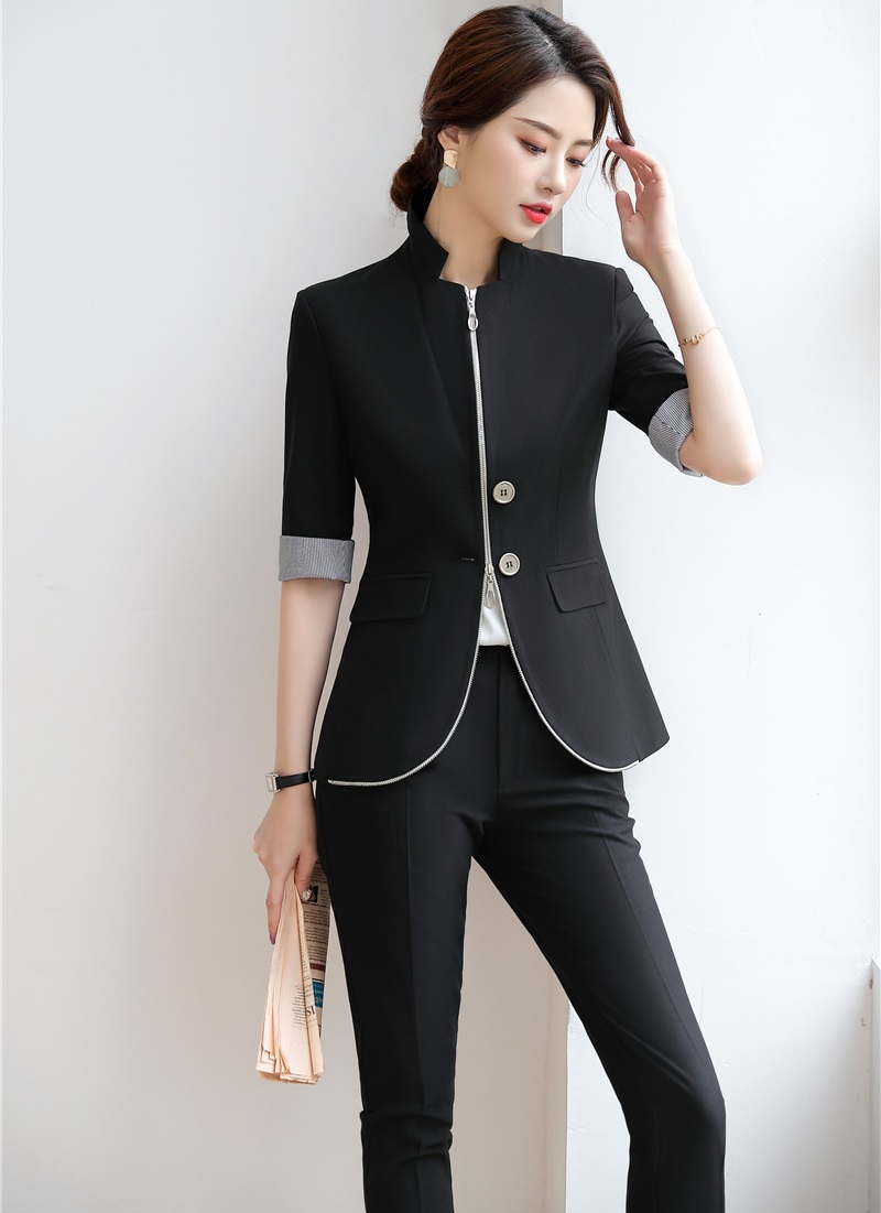 Uniform Styles 2019 Spring Summer Business Suits With Blazers & Jackets And Pants Half Sleeve Women Pants Suits Female Sets