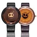 Sinobi 2017 nueva relojes de cuero para las mujeres de halloween del cráneo de las señoras relojes de cuarzo de moda reloj deportivo para hombre regalos