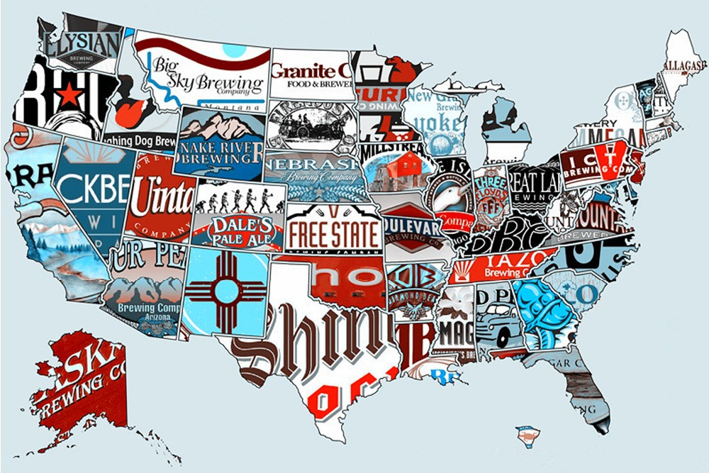 24x36 inch 2 piece map of usa american beer canvas poster for home house office hotel restaurant art deco vogue 03 04 in wall stickers from home garden on