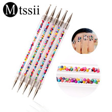 Mtssii New 1 Set 5 Pcs Marbleizing Dotting Manicure Tools Double Spiral Pen Nail Art Point Drill Dotter Tool