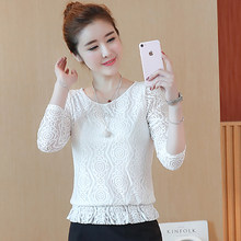 Cheap elegant long sleeve bodysuit fuffles Women lace blouse shirts crochet tops blusas Mesh Chiffon blouse female clothin(China)