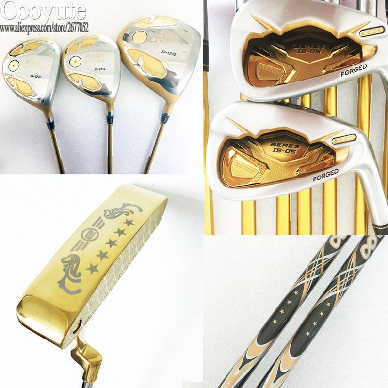 Cooyute Novos Clubes de Golfe Honma S-05 4 estrelas conjunto de Golfe clubes de Golfe driver + madeira + ferros + putter Grafite madeira do eixo headcover Frete grátis