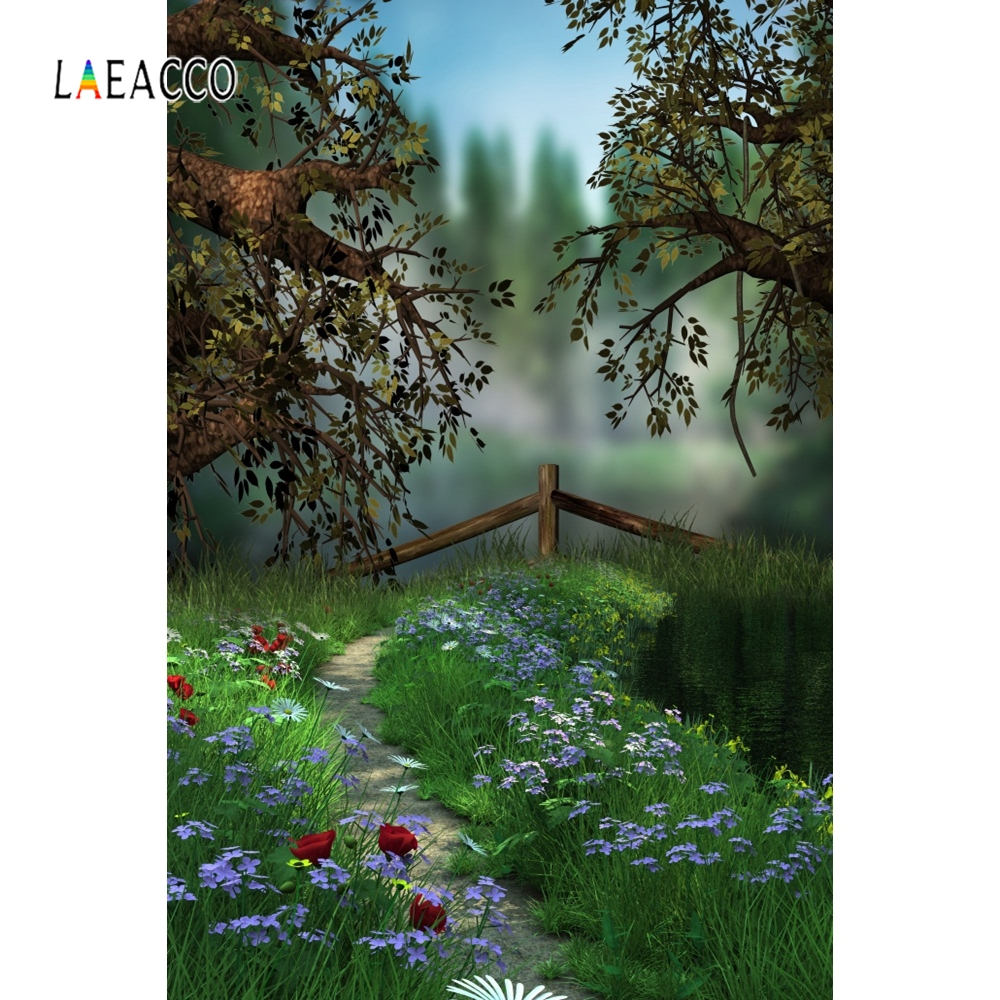 Laeacco Dreamy Green Tree Vine Flower Backdrop Baby Photography Backgrounds Customized Photographic Backdrops For Photo Studio in Background from Consumer Electronics