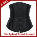 Корсет + G-string 24 стали костяком корсет атлас грудью талии тренер cincher бюстье для женщин черный корсет плюс размер S-6XL