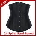 Corset+G-string 24 steel boned corset satin underbust waist trainer cincher bustier for woman black corselet plus size S-6XL