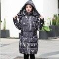 Más tamaño mujeres de la manera impresión linda con capucha capa larga caliente del invierno de wadded de algodón acolchado ropa femenina trinchera abrigo acolchado jacket4XL