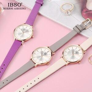 Image 3 - IBSO marka 8 MM ultra cienki zegarek kwarcowy kobiety szare skórzane damskie zegarki 2019 luksusowe panie zegarek Montre Femme