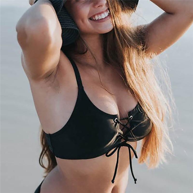 New Summer 2018 Women Solid Bikini Set Push-up UnPadded Bra Swimsuit Swimwear Triangle Bather Suit Swimming Suit Dropship iZ0412
