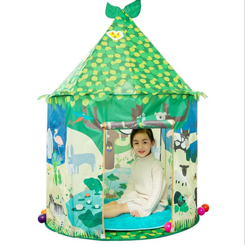 140*100*75.5cm Green Castle Cute Playhouse Children Kids Play Tent Outdoor Environmental Protection Toys Tent For Children Kids