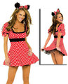 Wholesale Halloween Cosplay Adult Minnie Mouse Costume Free Shipping Red and White Dots Minnie Mouse Halloween Costume