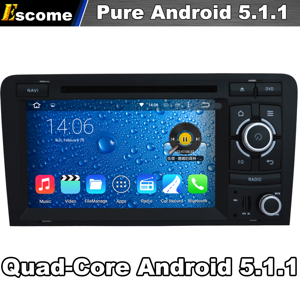 Quad Core 2 Din Android 5.1.1 Car DVD Automotivo For Audi R3 RS3 A3 2003 2004 2005 206 2007 2008 2009 2010 2011 With 2G ROM