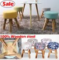 Wholesale!100% Wood bar stool,cotton+wooden furniture waiting stool,Salon chair,dresser stool,bathroom stool 30 styles