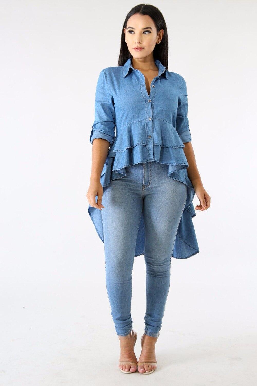 Blue Denim Casual Shirt Feme Spring Turn Down Collar Long Sleeve Top Special Front Short Back Long Double Ruffles Blouse J1484