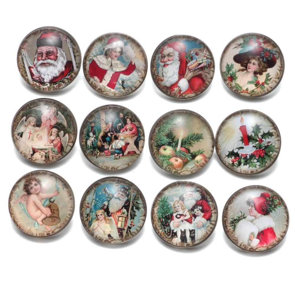 12pcs/Lot Vintage Christmas Pattern Glass Charm 18mm Snap Button Jewelry For 18mm Snaps Bracelet Snap Jewelry KZ0479