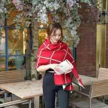 Winter Fashion Scarf Luxury Brand Tartan Blanket Scarf Loves Cashmere Pashmina Pink Black White Simple Foulard YJWD420