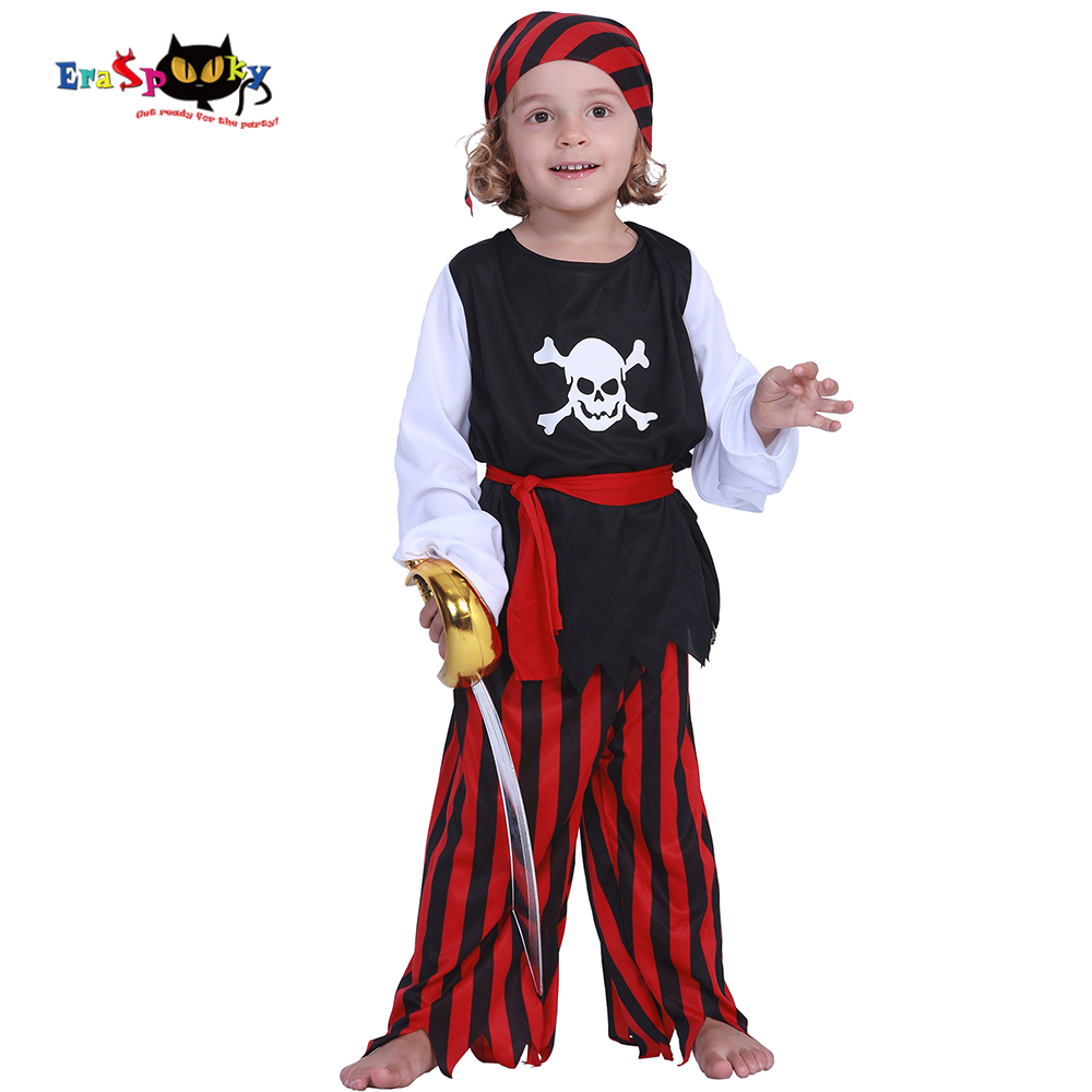 Eraspooky Kids Carnival Costumes Cute Pirate Boys Jack Sparrow Cosplay Children Costume Skull Caribbean Fancy Dress For Party