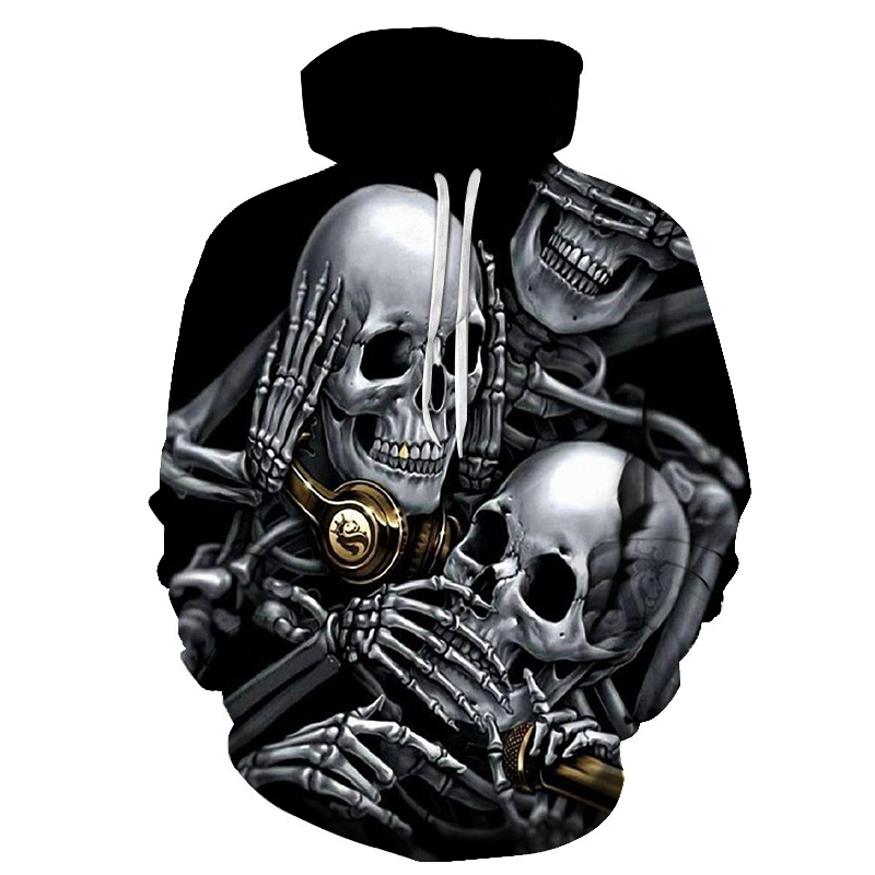 Men's 3D Hoodies Print Many Metal Skulls Beer Funny Design Harajuku Black Pullovers Male Streetwear Tracksuits Hoodie
