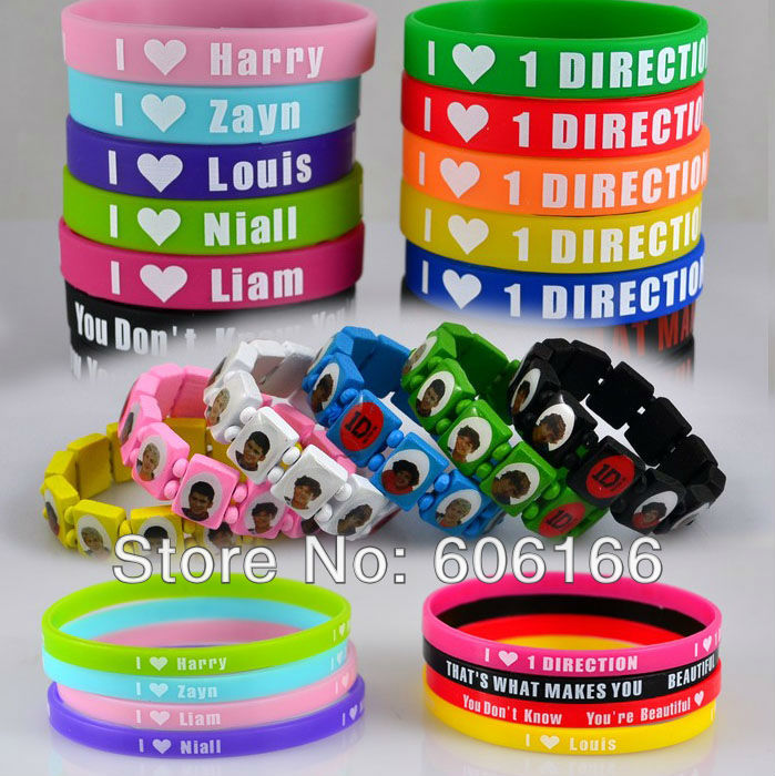 24pc/lot HOT 1D I Love One Direction Super Star Silicone Wristband Wood Bracelet Mixed Colors Fashion Jewelry Part Gift