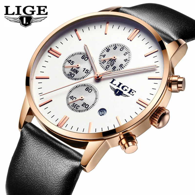 цена на LIGE Brand Fashion Waterproof Sports Watches Men's Casual Quartz Clock Business Watch Men Chronograph Watches Relogio Masculino