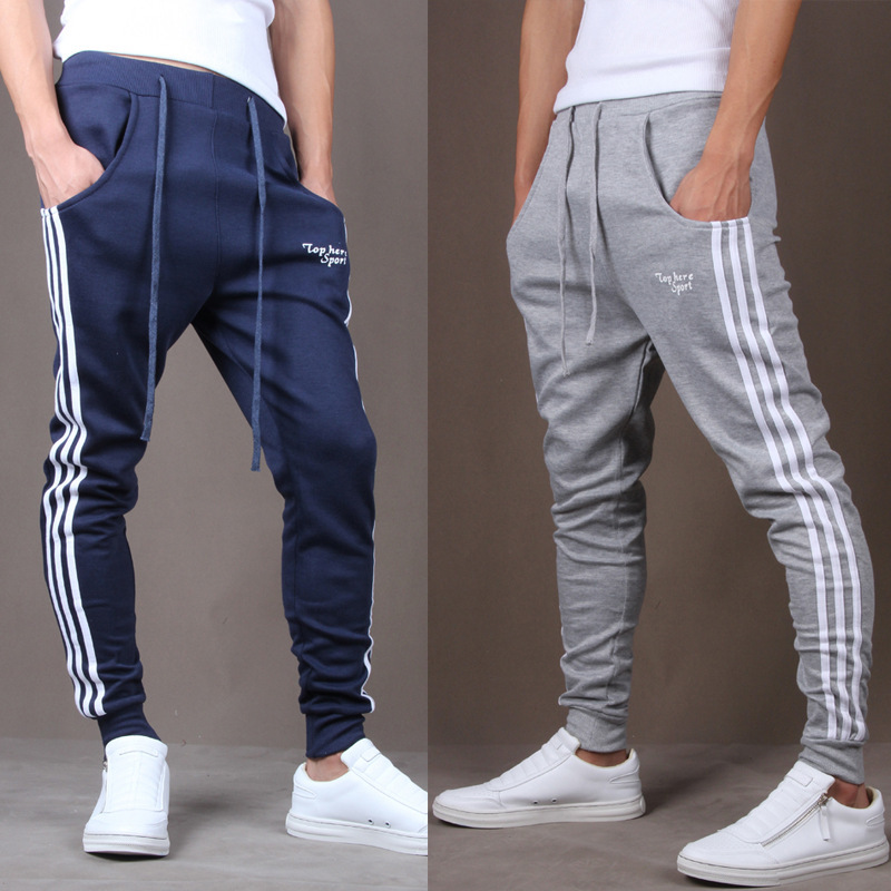 Gyms Clothing Track-Pants Bottoms Mens Joggers Striped Casual