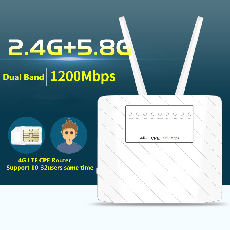 KuWfi 1200Mbps 4G CPE Router LTE Wireless Dual Band 2.4&5.8G AP FDD/TDD With Sim Card Slot