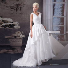 Wedding Dress 2016 SoDigne Elegant Flowers Deep V Neck Pleats A Line Vestido De Noiva Romantic Custom Made Bridal Gown