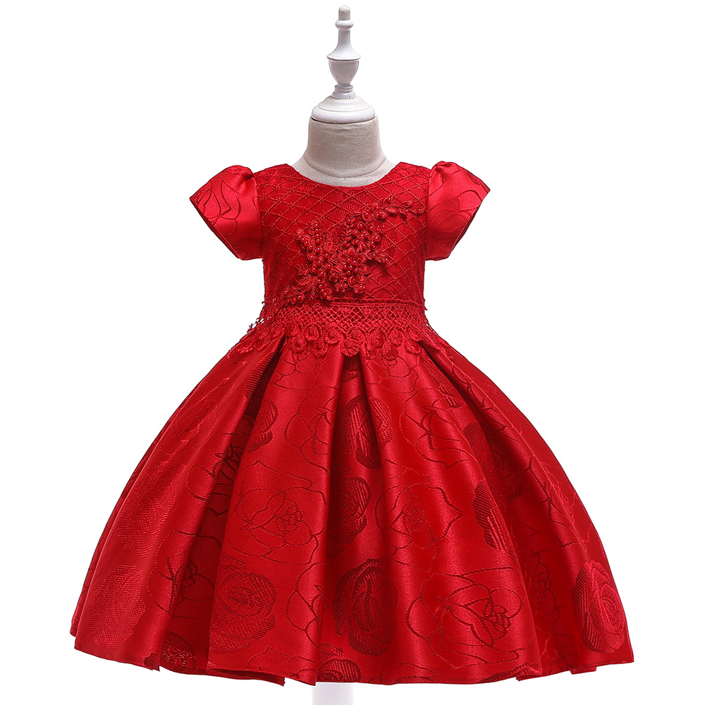 Red Short Sleeves Ballgown First Communion Gowns 2019 For Evening Party   Flower     Girls   Princess Elegant Wedding Pageant Dres