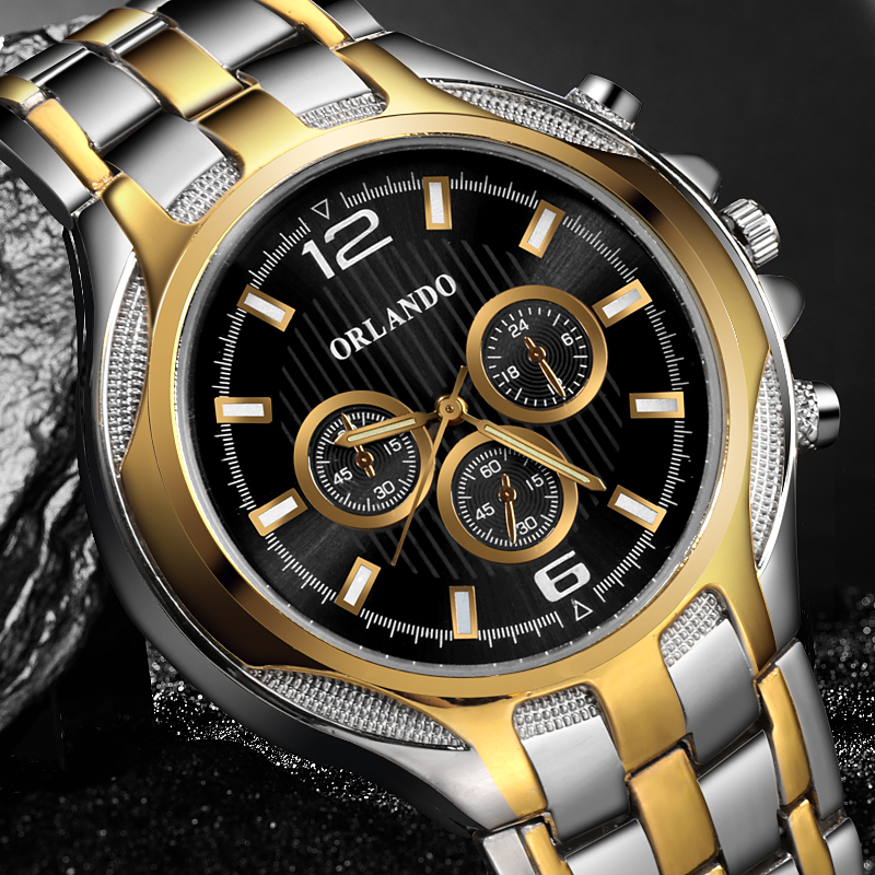 Relogio Saat  New Top Band Quality   Quartz Silver Gold Plated Watch Mens Stainless Steel Dress Wristwatch Masculino Men Watches