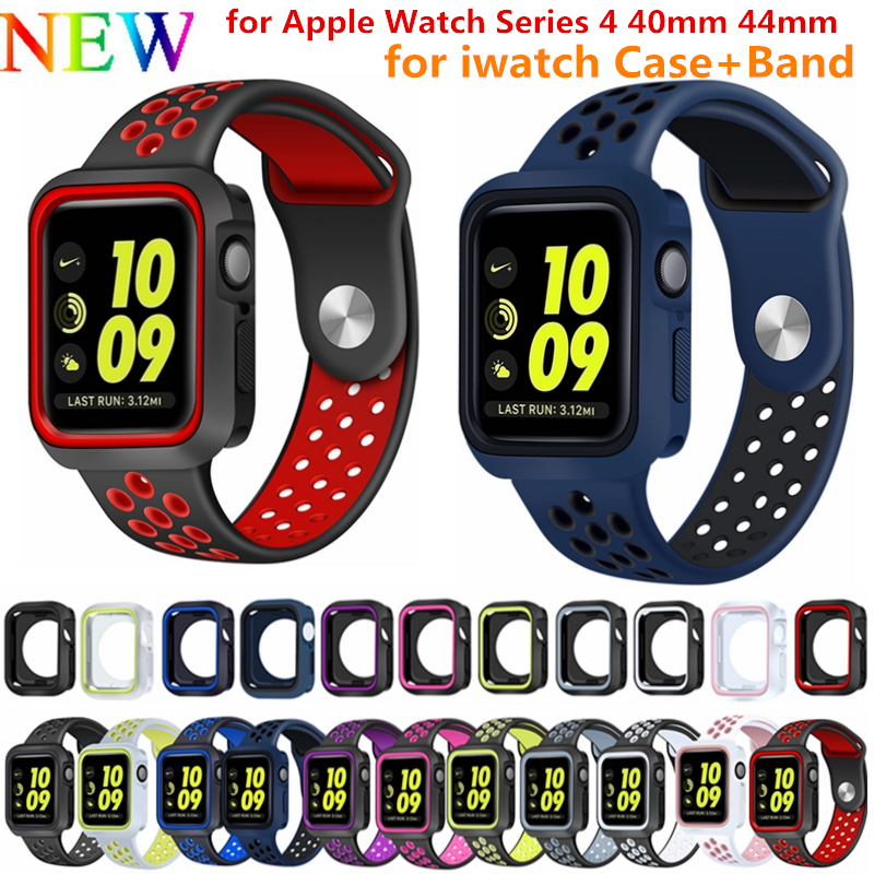 NEW Fashion Dual Colors Soft Silicone Case Bumper For Apple Watch  44mm 40mm Silicone band Strap for iWatch Series 4 NEW Fashion Dual Colors Soft Silicone Case Bumper For Apple Watch  44mm 40mm Silicone band Strap for iWatch Series 4